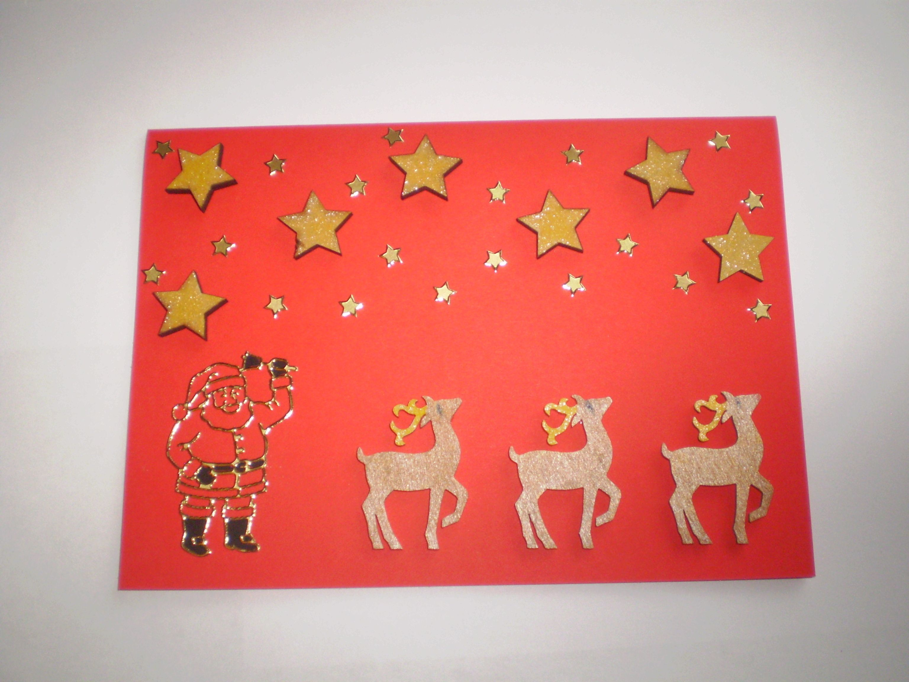 Christmas Card Crafts Ideas Part - 21: Red Card With Wooden Reindeer And Gold Stars With Santa - Christmas Card  Craft Ideas Homemade