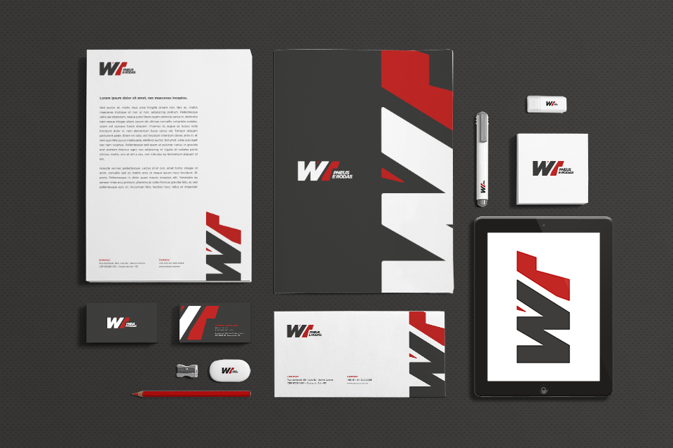 Uma nova empresa precisa iniciar seus trabalhos com o posicionamento de comunicação alinhado. A WT Pneus e Rodas teve seu logotipo, identidade visual e aplicação em materiais de expediente produzidos pela equipe da Interativacom.