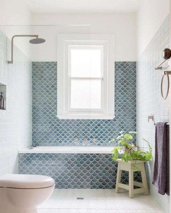 Grey Blue Fishtail Bathroom Tiles - Grey Blue Fishtail Bathroom Tiles. Image Source Unknown. #bathroomtiles