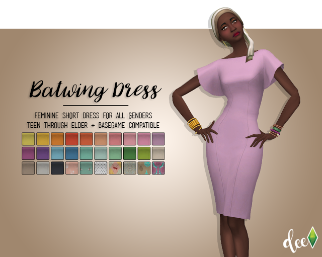 Batwing Dress I ADFLY :( I by deetronsims via tumblr I Bethsims has  WMS recolors