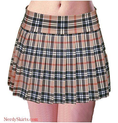 f23a32fc0e5 Schoolgirl Tartan Plaid Pleated Mini Skirt Tan Mocha Stretch Large ...