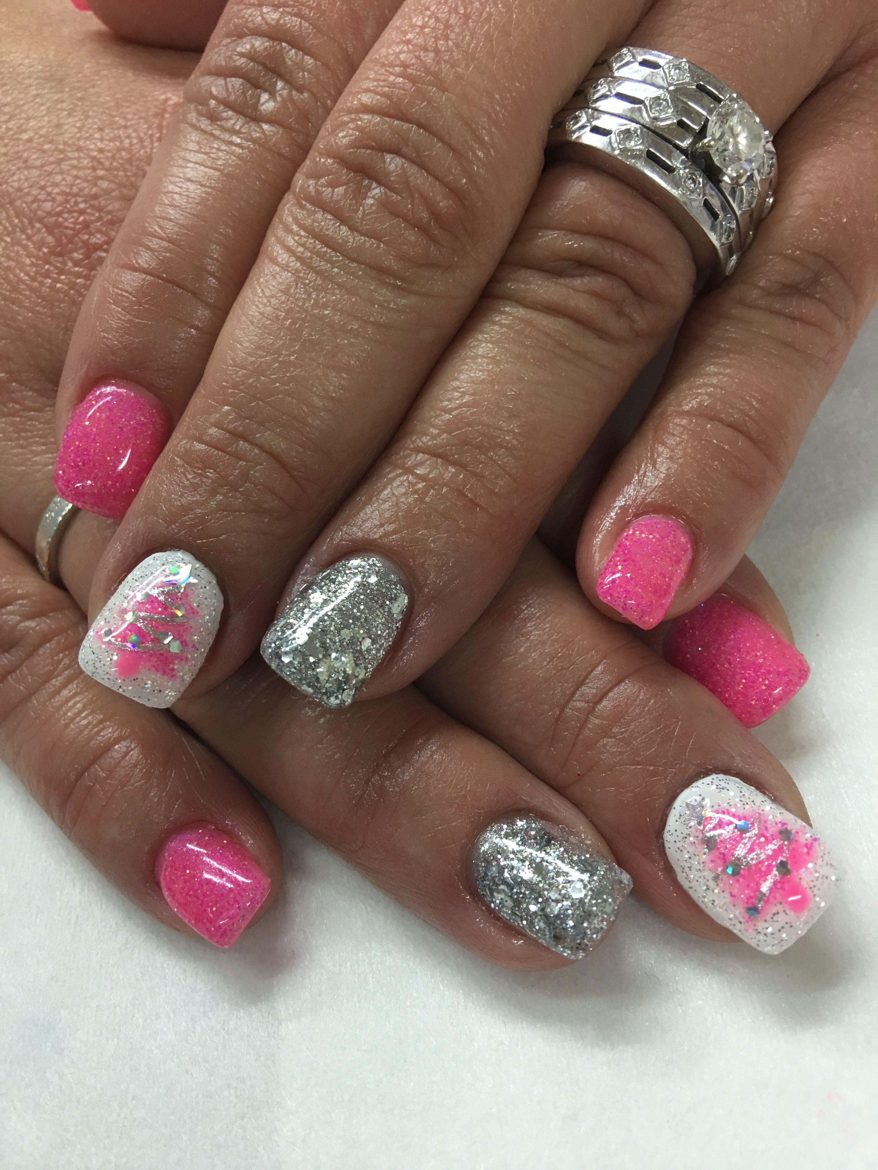 Pink Christmas Tree Glitter Gel Nails Gel Nail Designs In 2018
