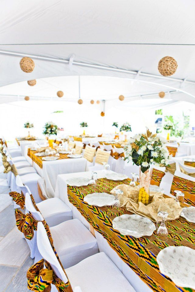 Kente fabric decor african wedding inspiration by jandel for Traditional wedding decor ideas