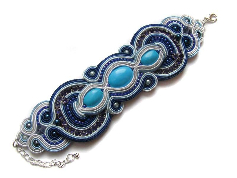 Bransoletka Sutasz Sutaz Soutache Blue Howlit 3870181679 Oficjalne Archiwum Allegro Bracciali