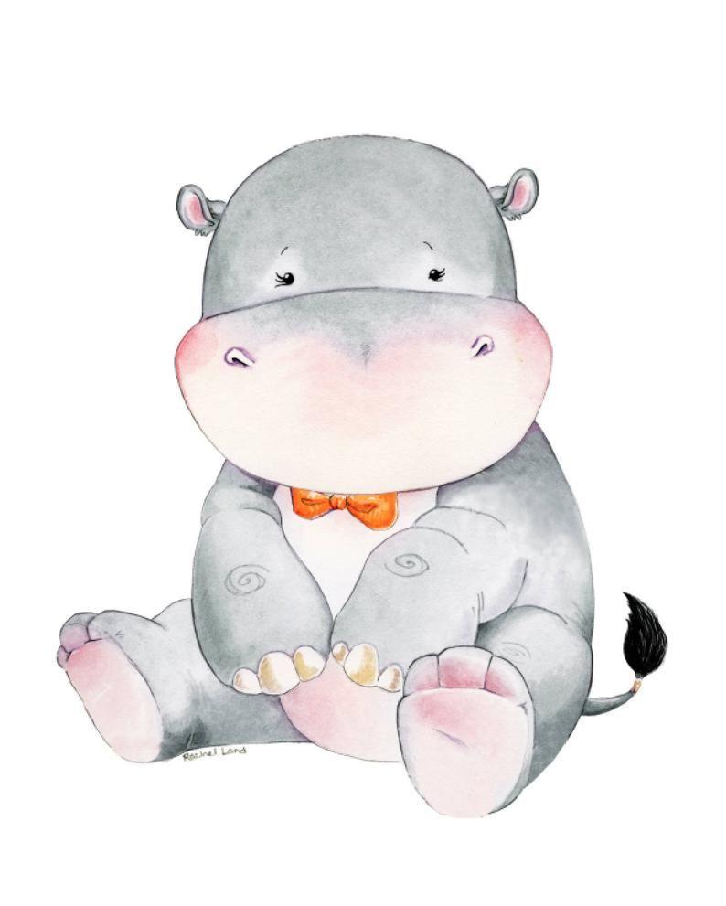 Hippopotamus, Hippo, Baby Hippo, Watercolor Hippo, Nursery Hippo Art, Hippo Themed, Hippo Nursery, Watercolor Nursery, Nursery Decor