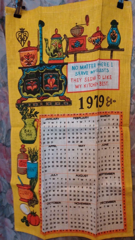 Coffee Pot Kitchen Antique Stove 1979 Calendar Linen Dish Towel