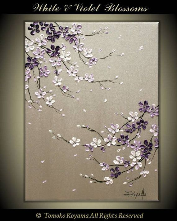 Original Acrylic Impasto Modern Abstract Painting on Gallery wrapped Canvas 24 x 30 Home Decor,— Purple Cherry Blossoms