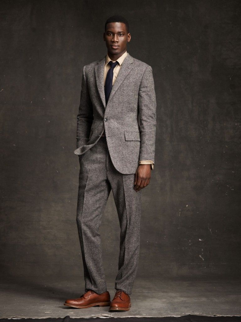 Love it! | J. Crew. F/W 2012. Brown shoes w/ grey suit and nobody ...