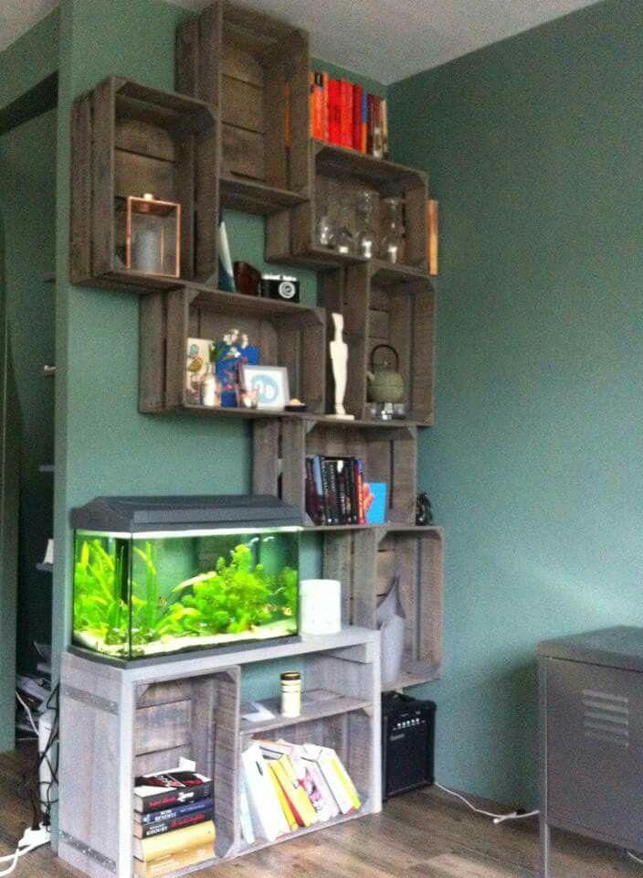 Cool Bookcase And Aquarium Idea