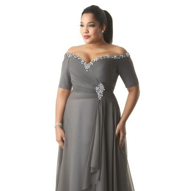Style #55454 plus size platinum grey evening gown with short ...