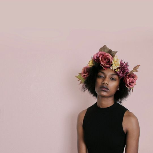 Black girl with flower crown tumblr