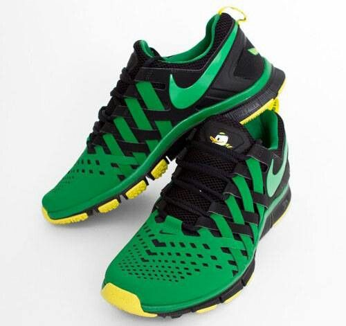 Nike Oregon Ducks Metallic Silver/Kelly/Yellow Strike/Black Lunar TR1 Shoe  | Oregon ducks, Metallic and Black