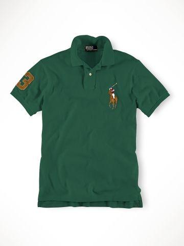 Ralph Lauren Men\u0027S Brown Green Leather Polo Custom-Fit Big Pony Welsh W