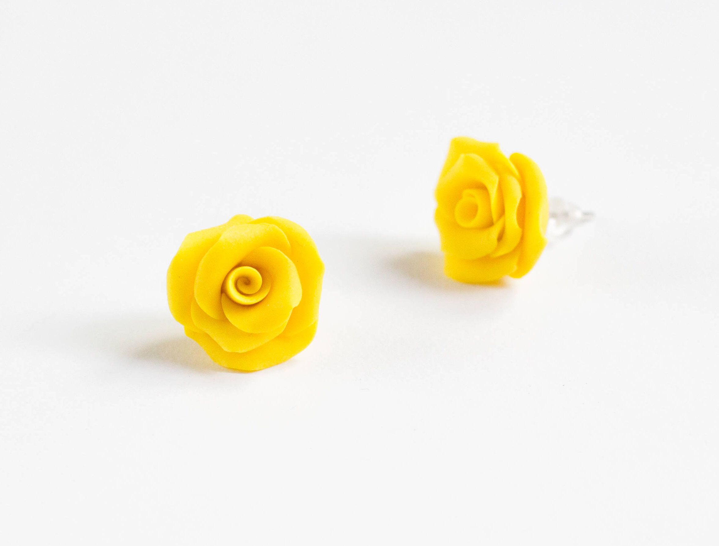 Rose Studs Gifts Under 20 For Her Flower Earrings Studs Yellow