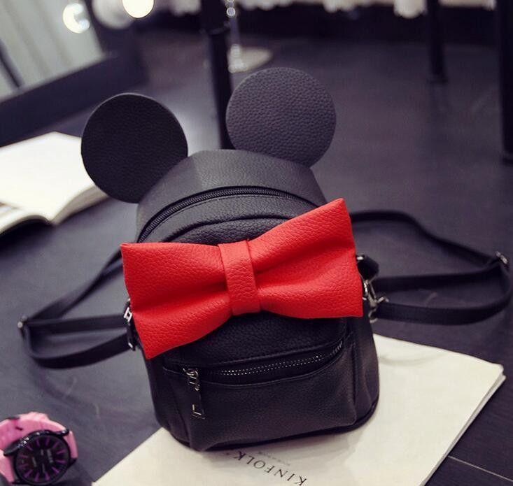 Mickey backpack Female bag Quality PU leather Women Backpack Mickey ears  Sweet girl bow Travel Rucksack f0ba412831e39