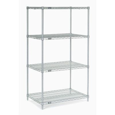 Nexel 4 Shelf Shelving Unit Starter Finish Chrome Size 74 H X 54 W X 18 D Shelving Unit Shelves Wire Shelving