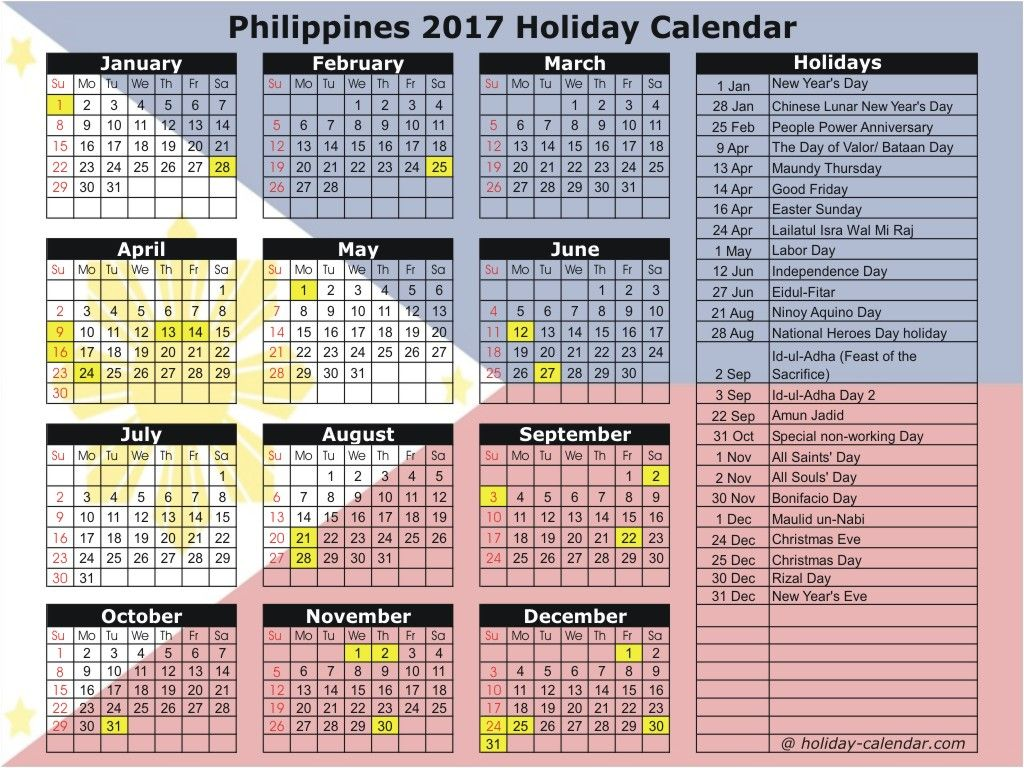 Philippines 2017 Holiday Calendar | others misc | Holiday ...
