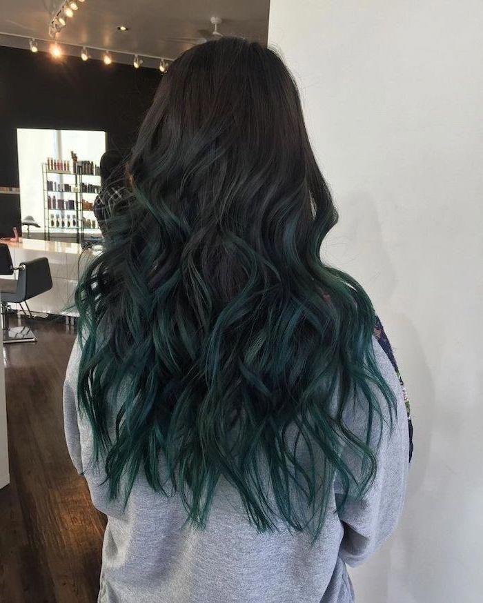 Black To Dark Turquoise Long Wavy Ombre Hair Grey Sweatshirt White Background Blueblackhair In 2020 Ombre Hair Hair Styles Turquoise Hair