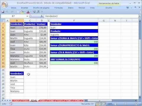 Excel Facil Truco #54: Sumar con Mas De 1 Criterio - YouTube libro de trabajo: http://www.excelfacil123.com.ar/ sumar con mas de 1 criterio con 4 formulas diferentes: SUMA, SUMAPRODUCTO, SUMA & SI, SUMAR.SI.CONJUNTO. hacerlo en una tabla. Sumar celdas basado en dos condiciones. Sumar celdas basado en dos criterios.  Twitter: http://twitter.com/ExcelFacil123 Facebook: https://www.facebook.com/pages/Excel-F%C3%A1cil/370567826406025 Excelisfun…