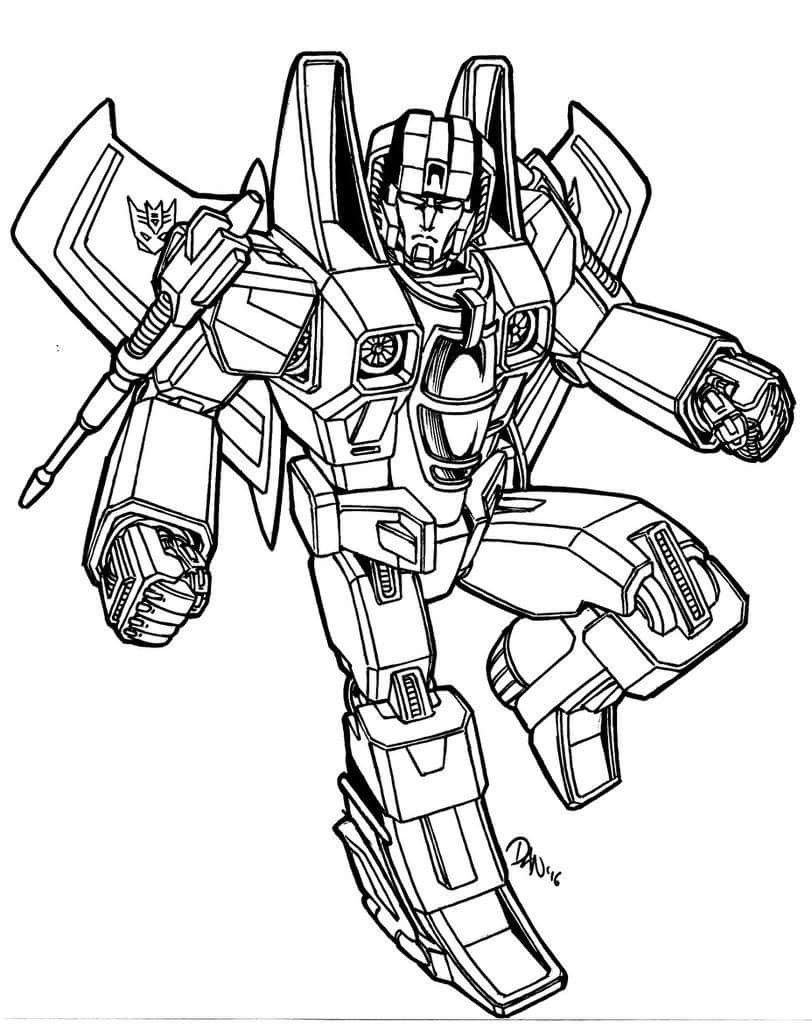 Starscream Decepticon Coloring Page Transformers Coloring