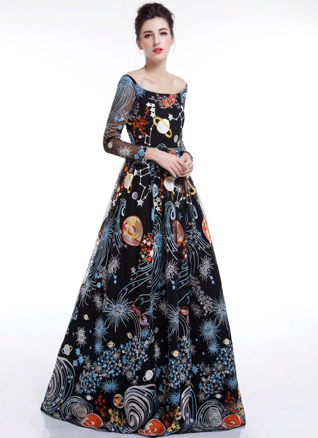 fcc44c7be7 Black Galaxy Print Floor Length Evening Dress with Colorful Outer Space  Embroidery and Long Sleeves