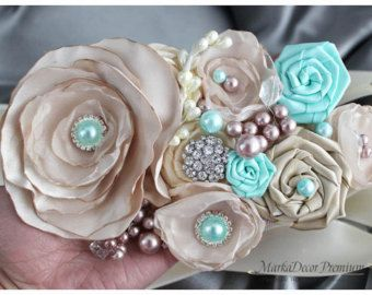 Bridal Custom Sash / Wedding Bridesmaids Belt in Ivory Aqua