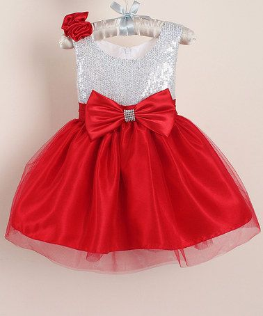 Look what I found on #zulily! Red & Silver Sequin Princess Dress - Infant, Toddler & Girls #zulilyfinds