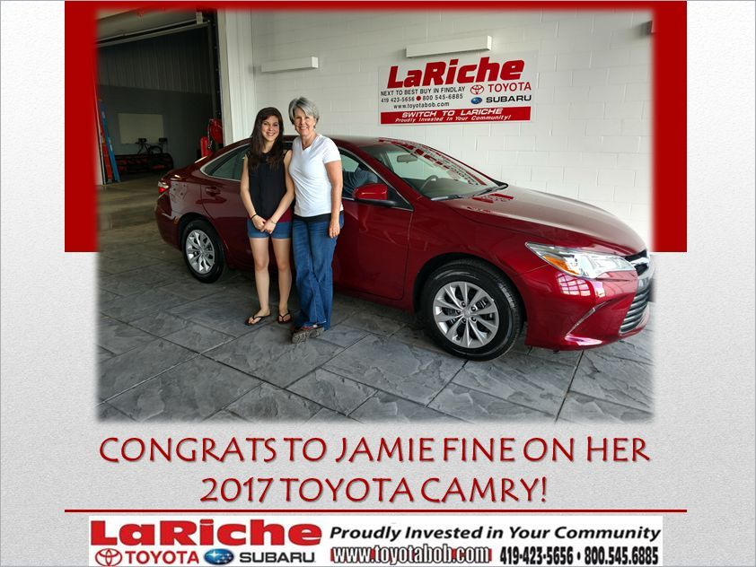 Enjoy your new Toyota! to the LaRiche family