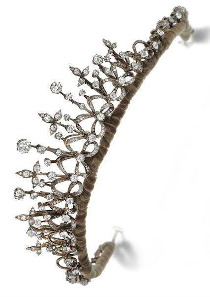 DIAMOND NECKLACE/TIARA, CIRCA 1895 Of graduated open work foliate and ribbon design set with circular- and rose-cut diamonds, frame inner circumference approximately 380mm.
