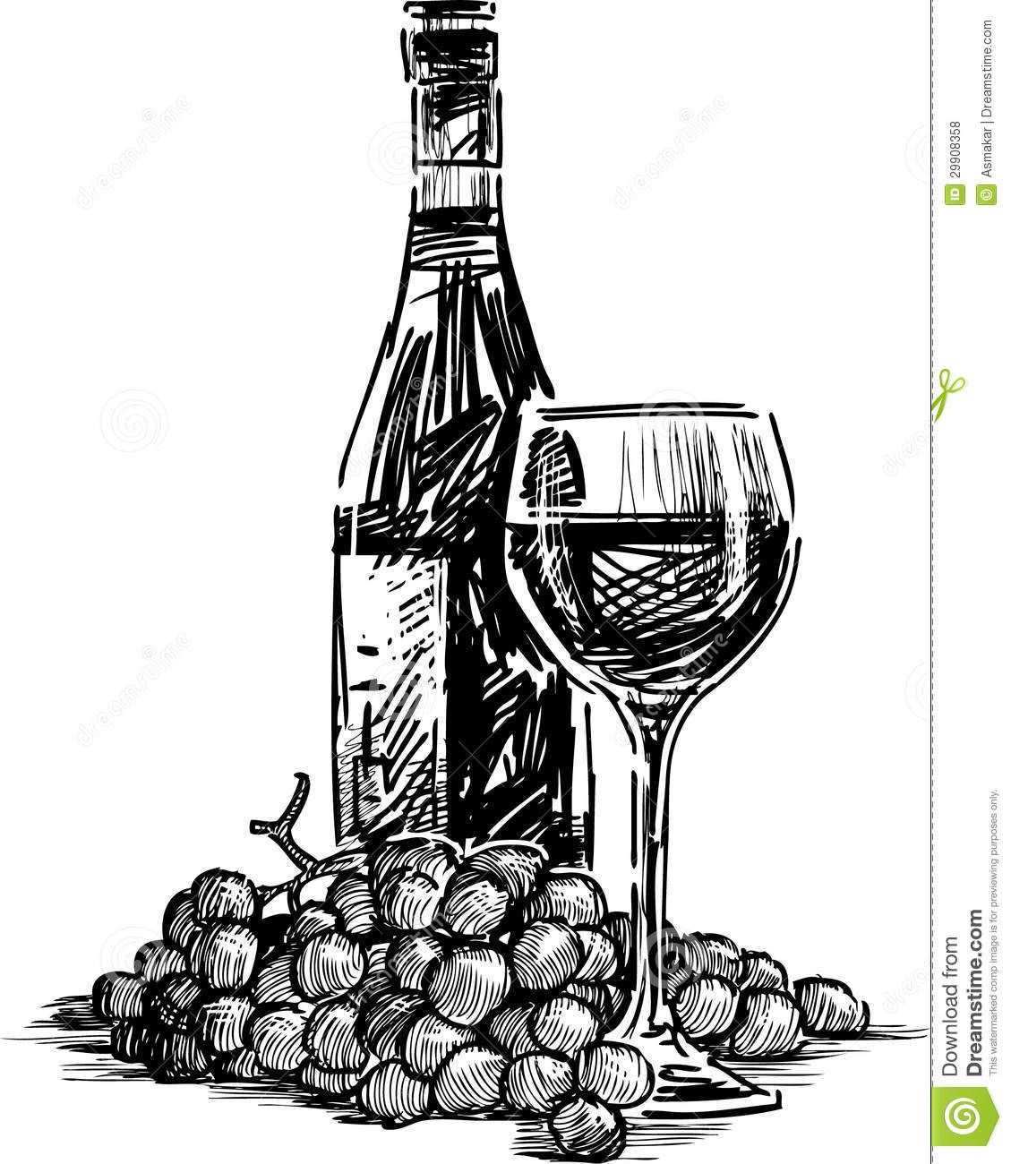 vector-drawing-bottle-wine-glass-grapes-cluster-29908358 ...