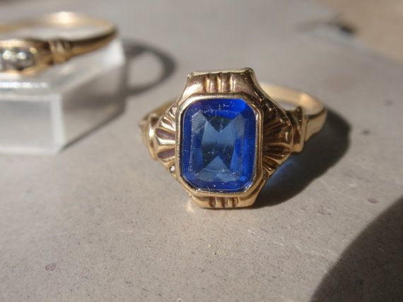 Art Deco Ladies Blue Stone Ring 10k By Luceestreasurechest On Etsy Deco Blue Blue Stone Ring Blue Stone