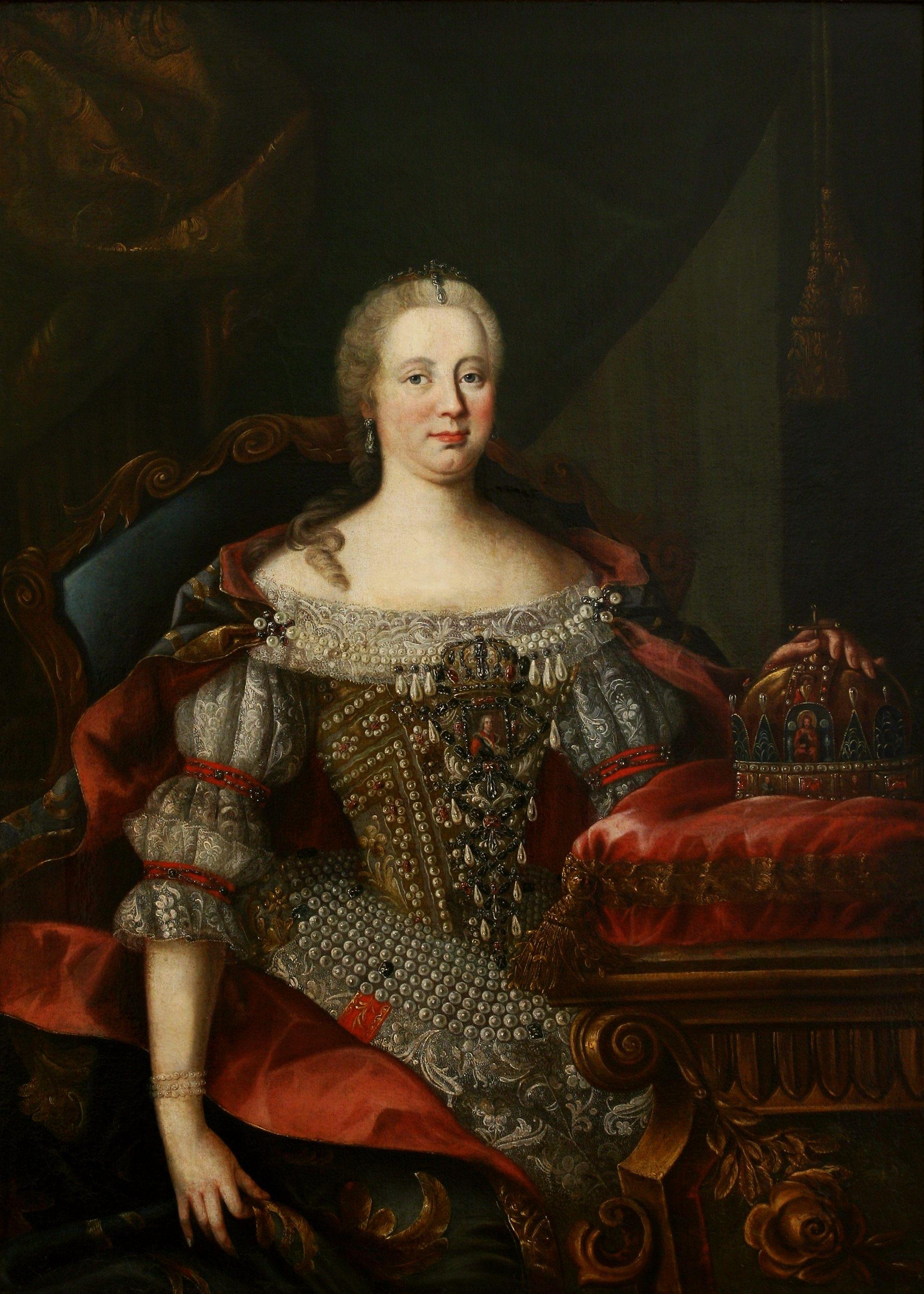 Empress Maria Theresa As Queen Of Hungary By Workshop Of Martin Van Meytens The Younger 1740s Pd Art Old Muzeu мария тереза женский портрет портрет женщины