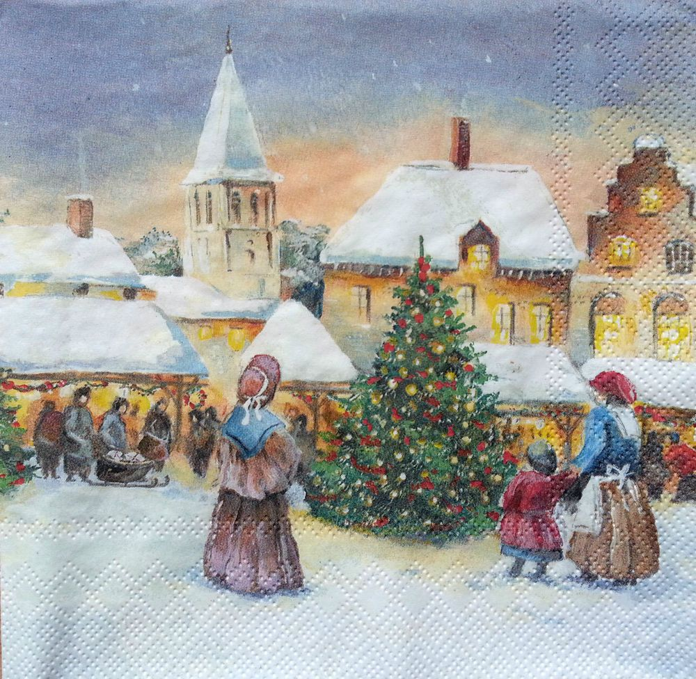 Xmas -X1 4 Single paper decoupage napkins winter,vintage Christmas