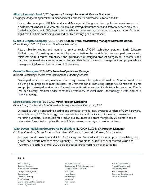 Resume Examples Vendor Management Pinterest Resume examples and