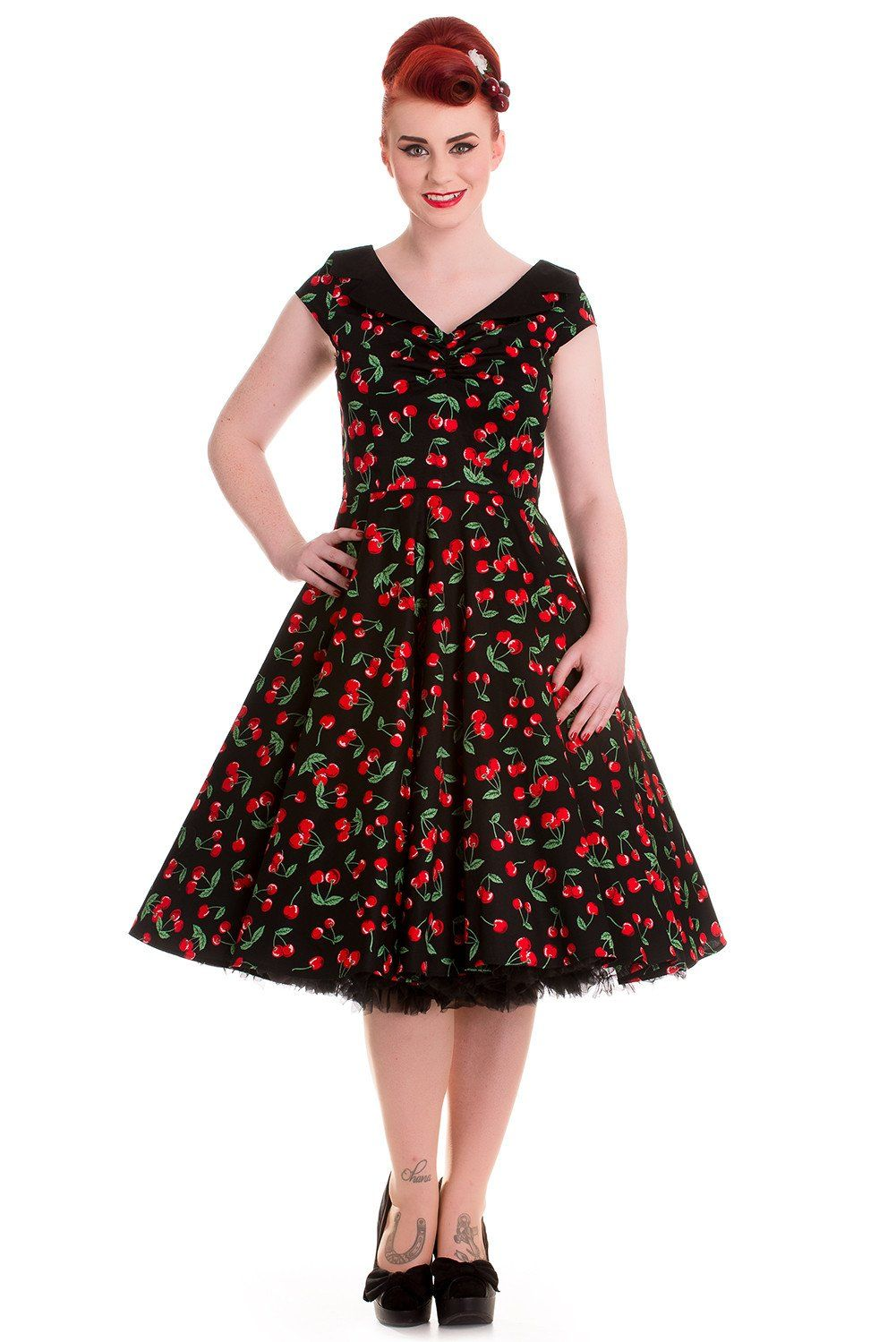 a66100bdb354 Hell Bunny Sweet Cherry Pop Cherry Love 50 s Pinup V-neck Flare ...