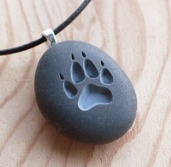 Photo of Wolf Paw print – Tiny PebbleGlyph (C) necklace – engraved stone necklace by sjEngraving