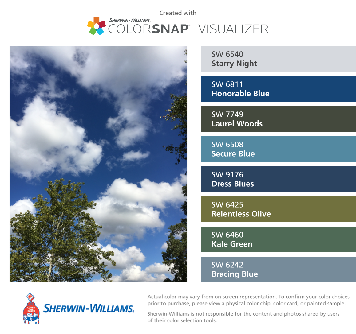 I Found These Colors With Colorsnap Visualizer For Iphone By Sherwin Williams Starry Night Sw 6540 Paint Color App Blue Green Paints Matching Paint Colors [ 1088 x 1158 Pixel ]