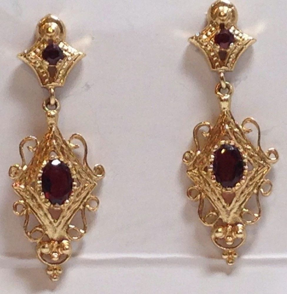 Vintage Garnet Gemstone Etruscan Filigree 14K Gold Dangle Pierced Earrings #DropDangle