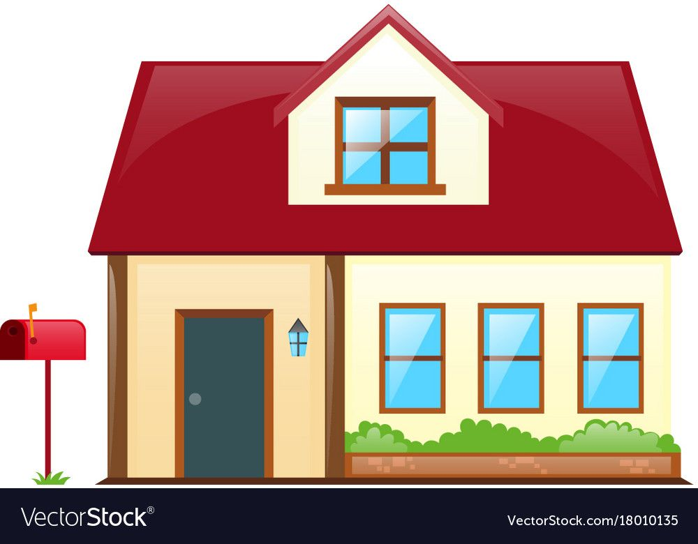 House With Red Roof Vector Image On Vectorstock Red Roof House Red Roof Roof
