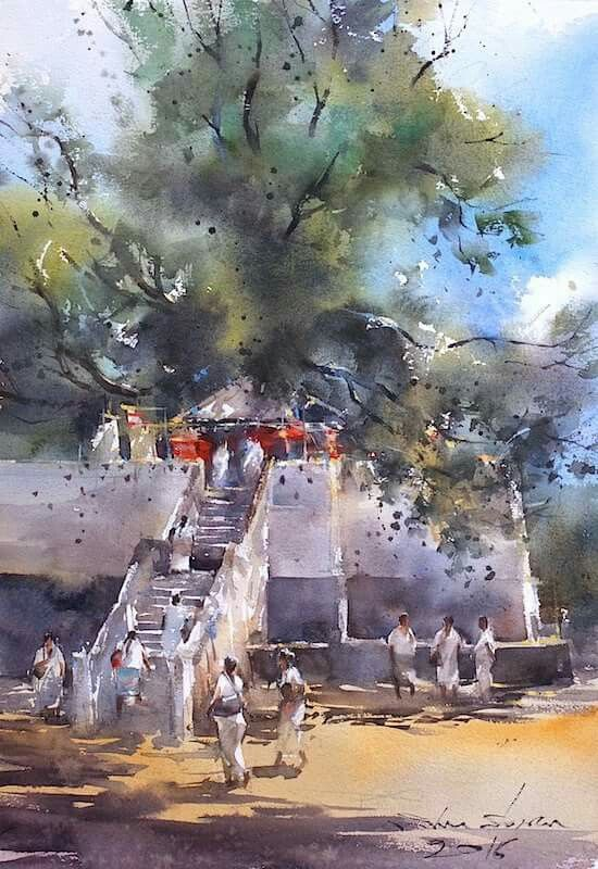 Direk Kingnok Watercolor Landscape Watercolor Architecture