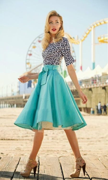 Women's fashion | Light blue A-line skirt