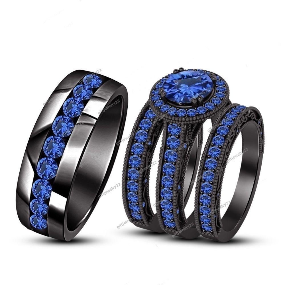 550 carat pave set rd cut blue sapphire 14k black gp his her trio ring - Blue Wedding Ring Set