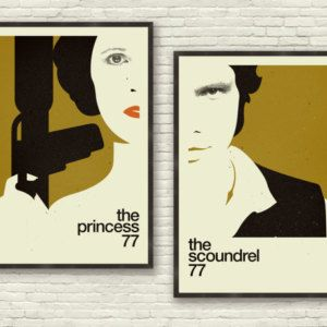 The Princess and The Scoundrel - STAR WARS Inspired Poster, Art Print Series - 24 x 36 Large, Gold, Mid Century Modern, Minimalist, Swiss Style