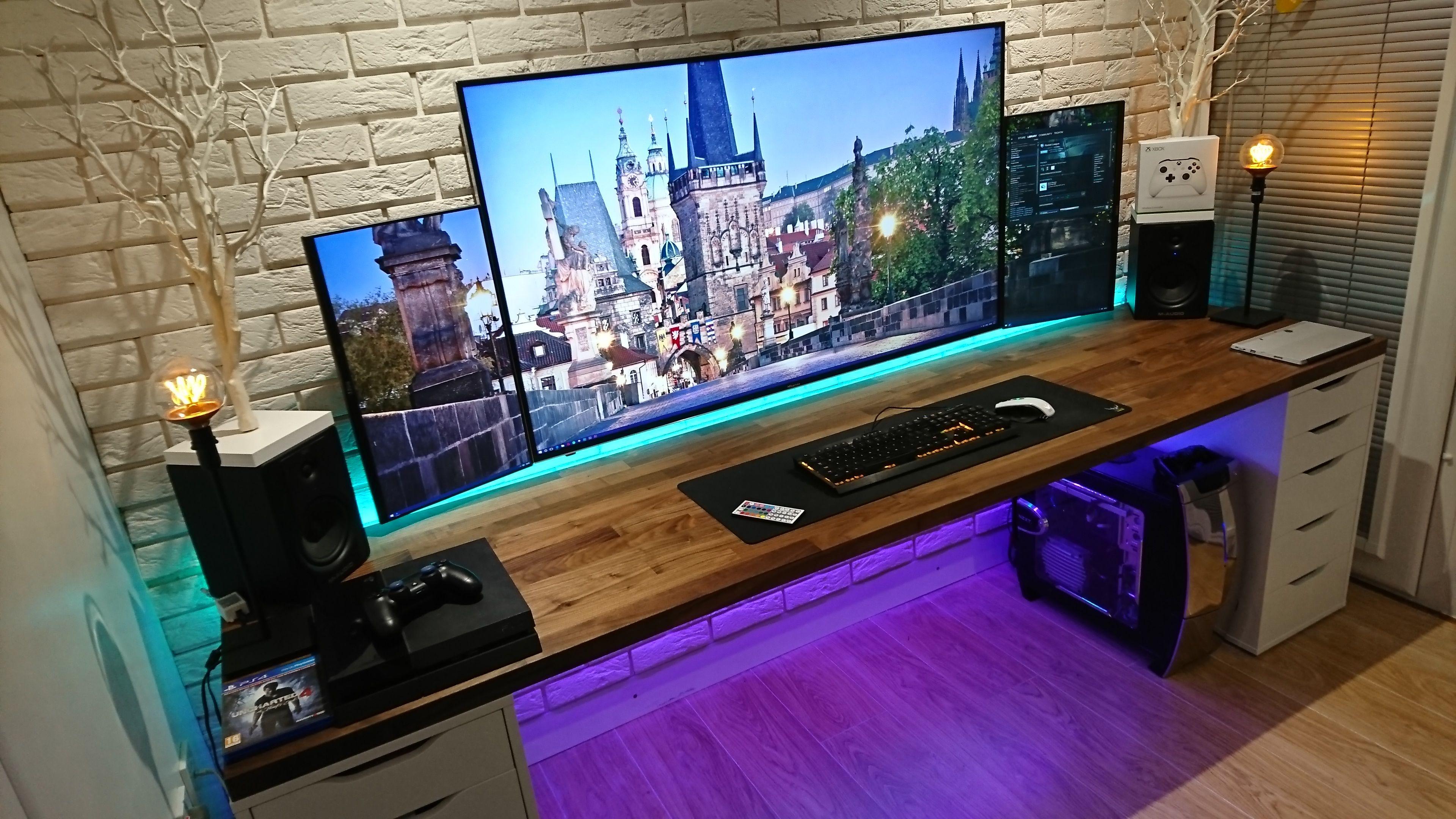 Image Result For Gaming Desk Setupa