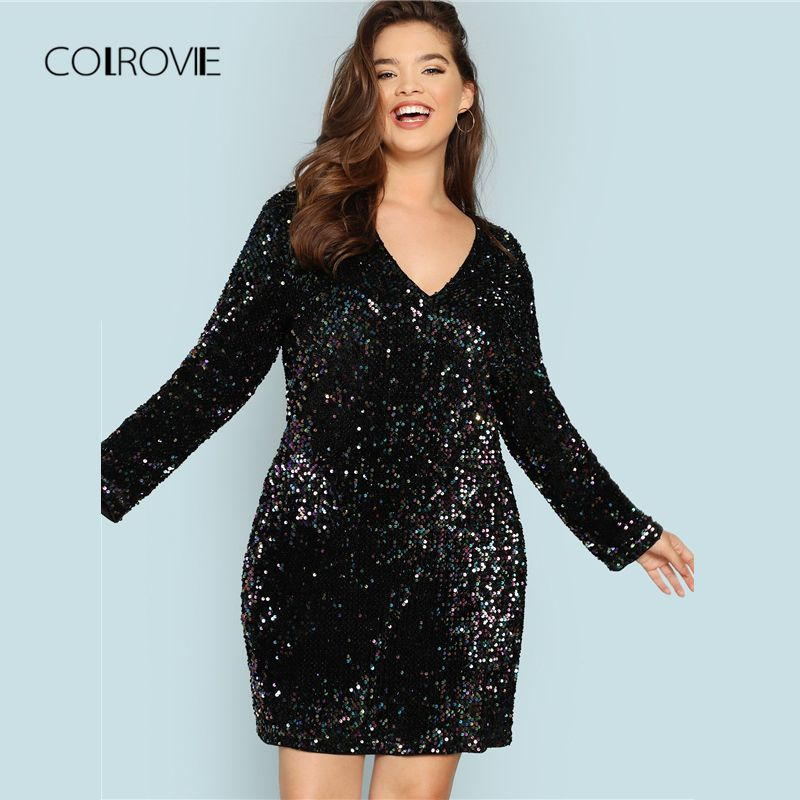 COLROVIE Plus Size Black V Neck Sequin Girls Sexy Dress Women 2018 Autumn  Long Sleeve Party Dress Elegant Evening Mini Dresses - Women Shopping . 633a18b257ce
