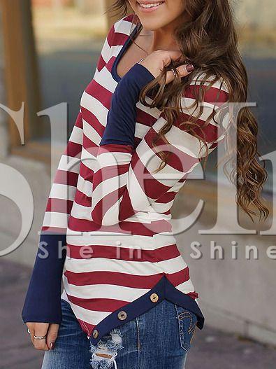 Camiseta manga larga rayas -borgoña blanco-Spanish SheIn(Sheinside)