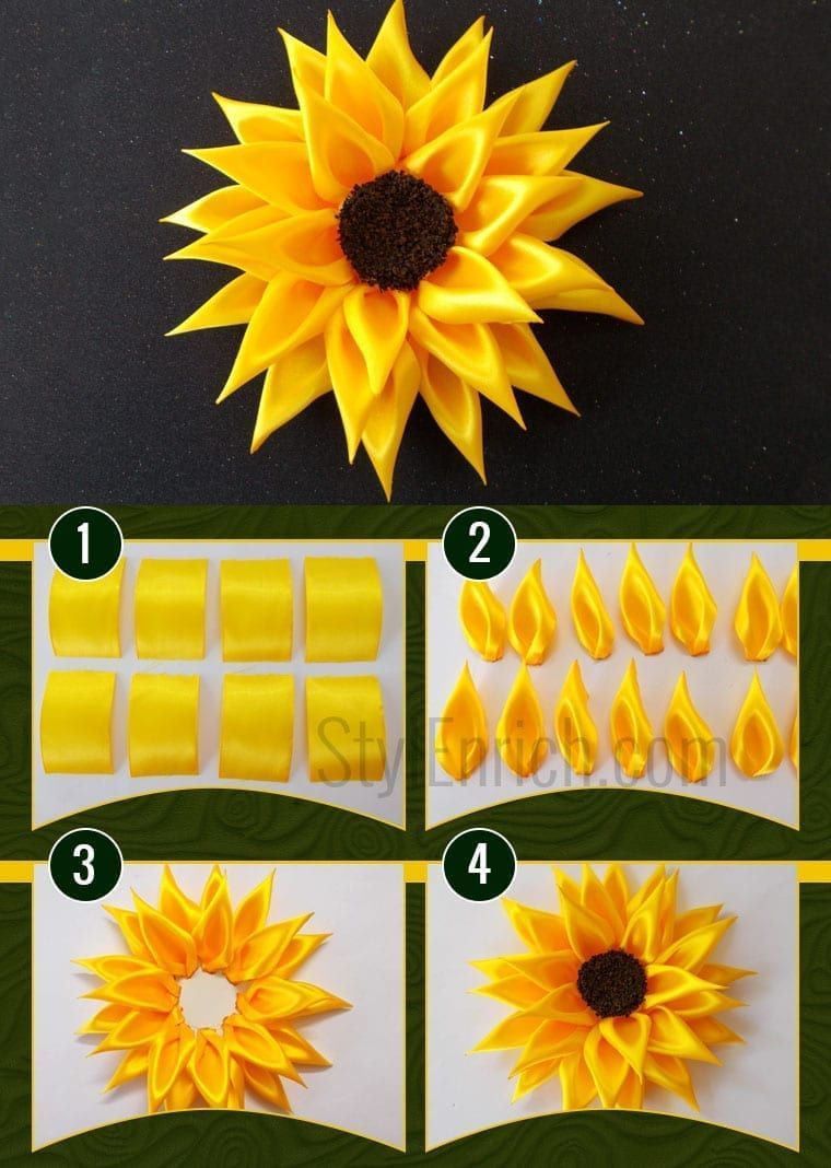 Accessories For Girls How To Make Satin Ribbon Sunflower Accessories For Girls How To Make In 2020 Ribbon Flower Tutorial Flower Diy Crafts Fabric Flowers Diy