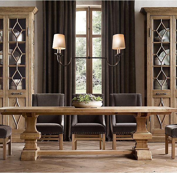 RH's Reclaimed Russian Oak Baluster Rectangular Extension Dining Table:Handcrafted of solid reclaimed white oak timbers from decades-old buildings in Russia, our trestle-style table draws from a tradition of dining and banqueting furnishings that dates to the 17th century.