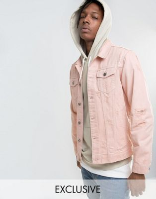 Mennace Denim Jacket With Abrasions In Light Pink Clothing Style