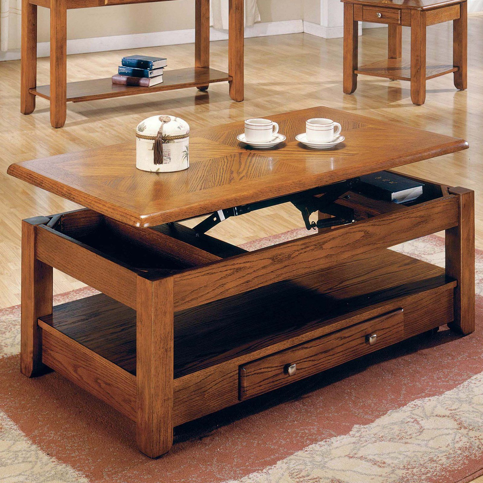 Steve Silver Nelson Lift Top Tail Table With Casters Oak It S Easy To Rise The Occasion Unique Design Of